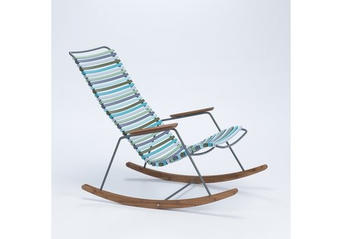 HOUE CLICK ROCKING CHAIR WITH MULTI COLOR POLYPROPYLENE PLASTIC SEAT AND BACK, POWDER COATED STEEL FRAME AND BAMBOO ARMRESTS AND RUNNERS.