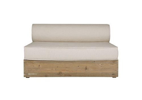 MAMAGREEN AIKO SECTIONAL ARMLESS MODULE WITH TEAK BASE, HPL BACK AND SAILCLOTH FABRIC