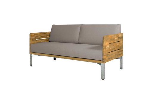 MAMAGREEN INDUSTRIAL LOVESEAT WITH CUSHIONS, BRUSHED TEAK FRAME AND DISTRESSED POWDER COATED ALUMINUM BASE