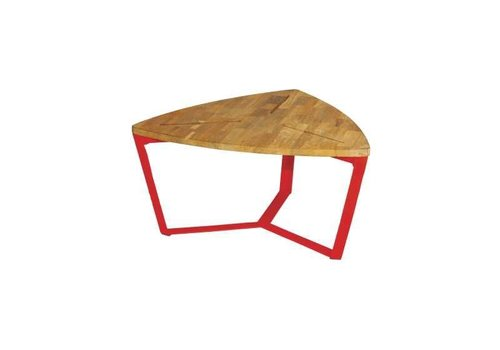 MAMAGREEN INDUSTRIAL TRIANGULAR MEDIUM TABLE WITH DISTRESSED GALVANIZED STEEL FRAME AND LAMINATED BRUSHED TEAK TOP