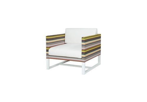 MAMAGREEN STRIPE 1-SEATER LOUNGE CHAIR, POWDER COATED ALUMINUM FRAME, TEXTILENE TWITCHELL STRIPES UPHOLSTERY AND SUNBRELLA CANVAS FABRIC