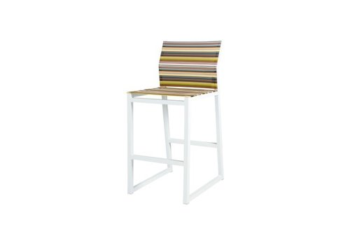 MAMAGREEN STRIPE BAR CHAIR, POWDER COATED ALUMINUM FRAME AND TEXTILENE TWITCHELL STRIPES SLING