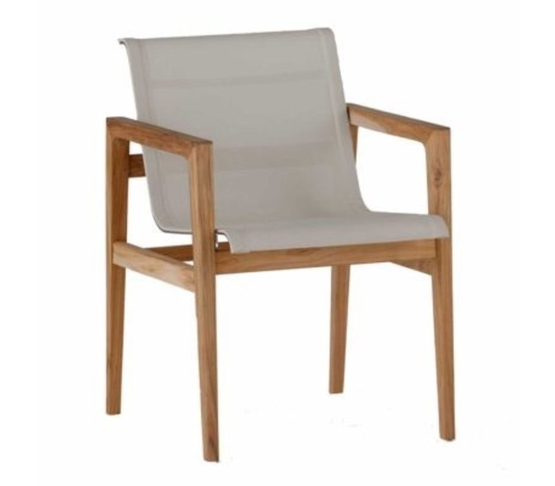 COAST ARM CHAIR - NATURAL TEAK WITH GRAY BATYLINE SLING