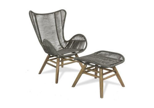 SEASONAL LIVING EXPLORER OCEANS NEPTUNE CHAIR & OTTOMAN, POWDER COATED STEELFRAME AND  ACACIA WOOD BASE