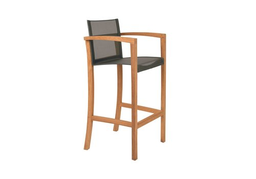 ROYAL BOTANIA XQI BAR CHAIR / TEAK FRAME / BLACK BATYLINE