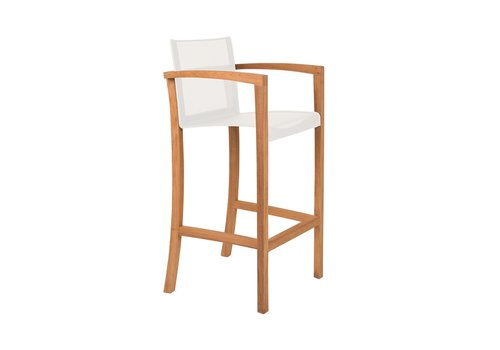 ROYAL BOTANIA XQI BAR CHAIR / TEAK FRAME / WHITE BATYLINE