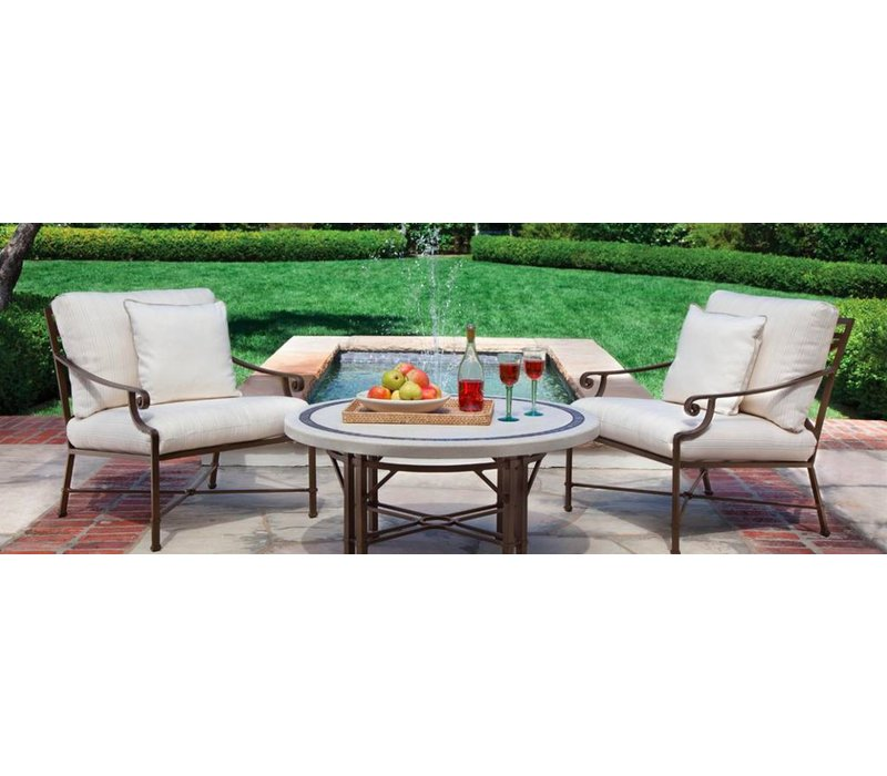 VENETIAN LOUNGE CHAIR WITH SEAT AND BACK CUSHIONS IN GARDE A FABRIC