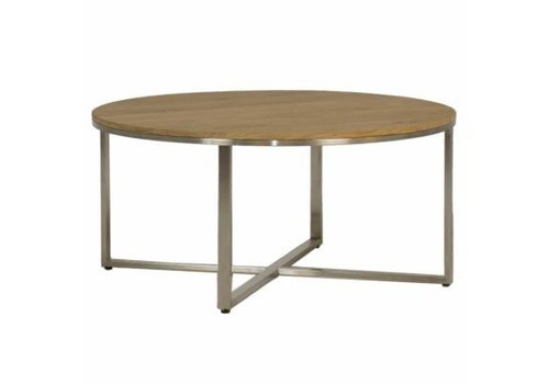 SUMMER CLASSICS BRADLEY 36 INCH ROUND COFFEE TABLE WITH STAINLESS STEEL BASE AND TEAK TOP