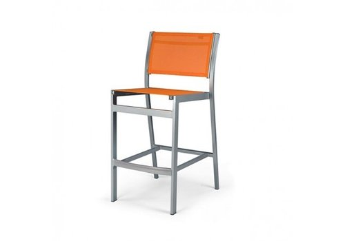 PAVILION BLEAU ARMLESS BAR CHAIR WITH REGULAR SLING, STANDARD POWDER COATED ALUMINUM FRAME