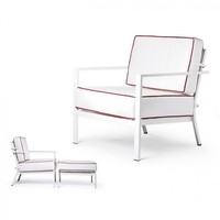 BLEAU LOUNGE CHAIR WITH REVERSIBLE CUSIONS - GRADE B FABRIC, STANDARD POWDER COATED ALUMINUM FRAME