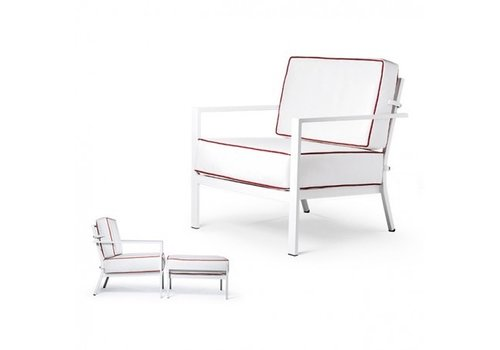 PAVILION BLEAU LOUNGE CHAIR WITH REVERSIBLE CUSIONS - GRADE B FABRIC, STANDARD POWDER COATED ALUMINUM FRAME