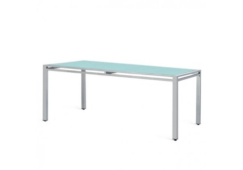 PAVILION BLEAU 42 x 72 DINING TABLE - OPAQUE COLORED TEMEPERED GLASS / POWDER COATED ALUMINUM FRAME