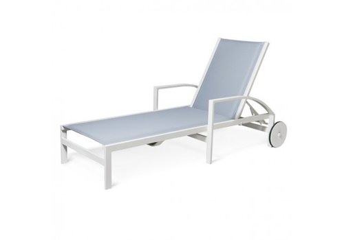 PAVILION AVANT CHAISE LOUNGE WITH WHEELS - COMFORT CUSHION SLING, STANDARD POWDER COATED ALUMINUM FRAME