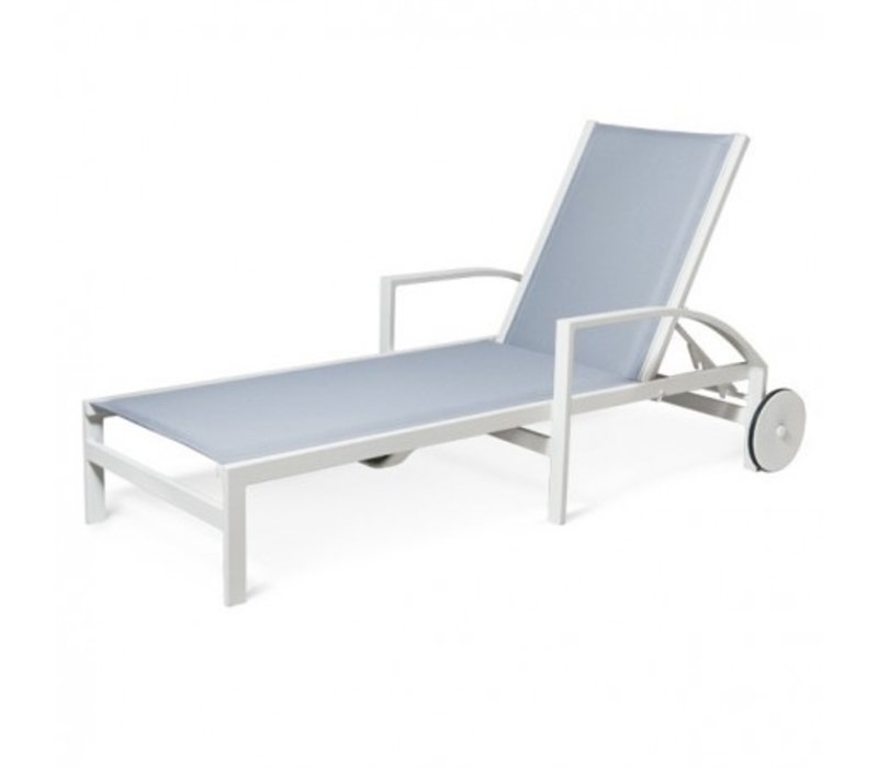 AVANT CHAISE LOUNGE WITH WHEELS - COMFORT CUSHION SLING, STANDARD POWDER COATED ALUMINUM FRAME