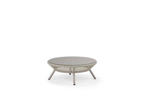 DEDON AHNDA COFFEE TABLE IN WHITE QUARTZ WEAVE WITH LIPARI GLASS TOP