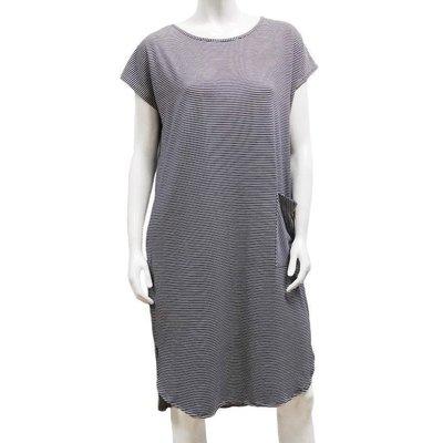 Gilmour, Bamboo Stripe Shirttail Pocket Dress (Medium)