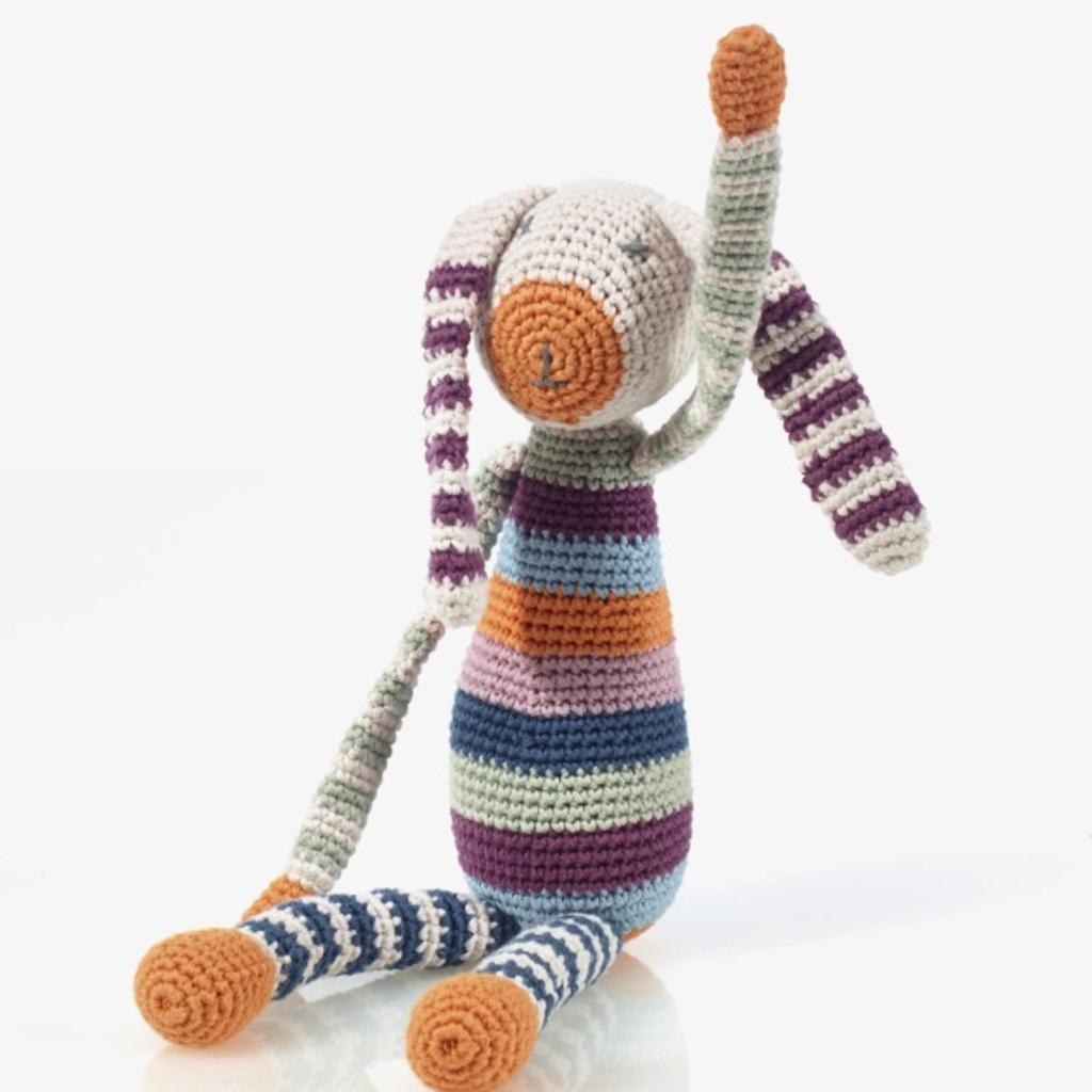 Pebbles Pebble, Organic Stripey Bunny Rattle
