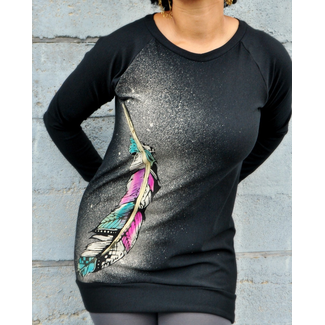 Sea of Wolves Design Sea of Wolves, Boyfriend Raglan, Painted Feather Print