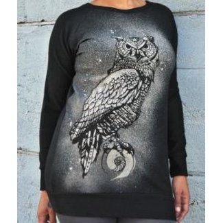Sea of Wolves Design Sea of Wolves), Boyfriend Raglan, Mystic Owl Print, Black, Medium