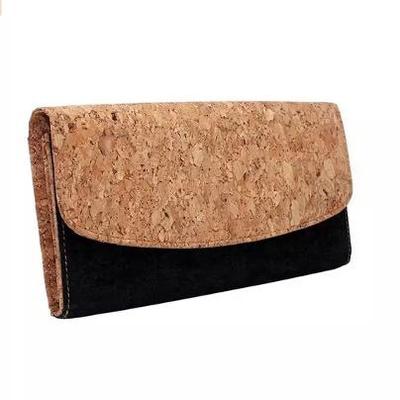 Black & Natural Cork Envelope Clutch