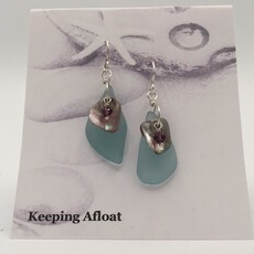Keeping Afloat, Fishing Float & Abalone Earrings