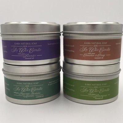 Kama Natural Soap Kama, Soy Candle Tin