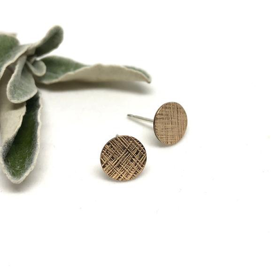 Naked Sage Naked Sage, Cross Hatch Studs, Gold
