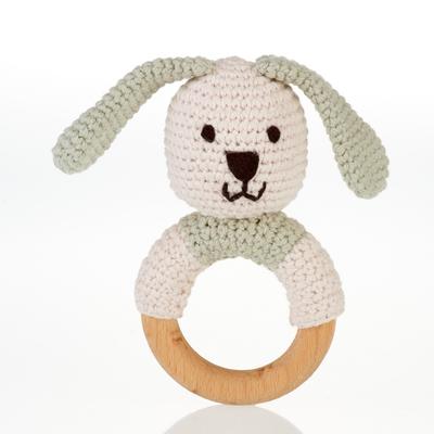 Pebble, Wooden Bunny Teething RIng, Organic