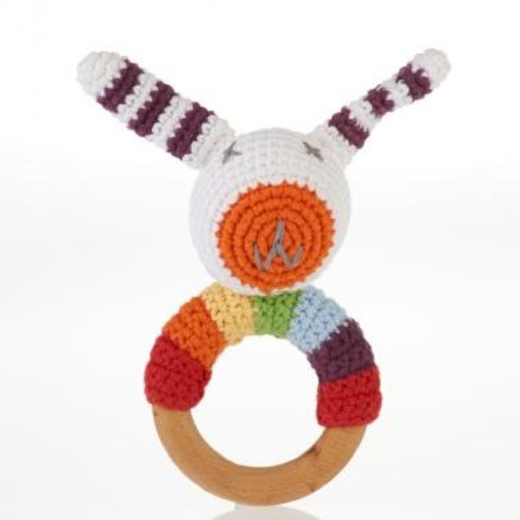 Pebble, Wooden Teething RIng, Rainbow Bunny, Organic