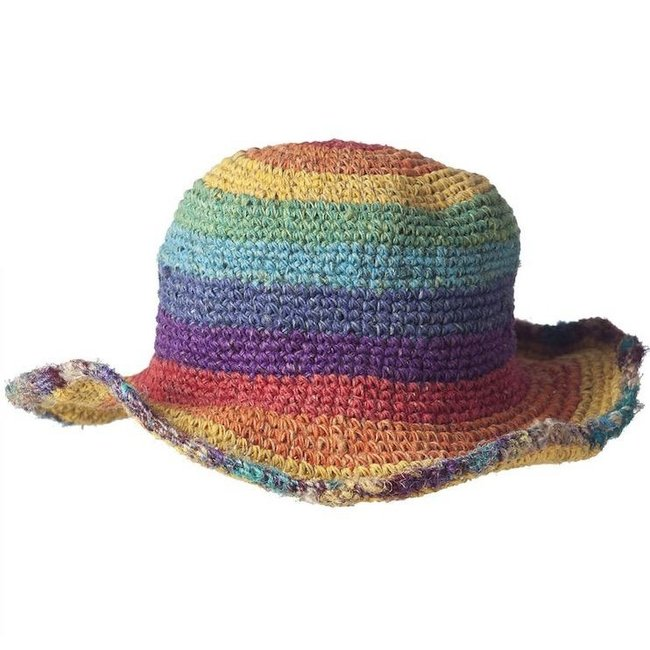 ARK Imports Ark, Hemp Cotton Wirerim Hat, Rainbow