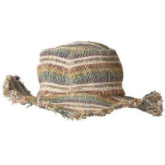 ARK Imports Ark, Hemp Wirerim Fringe Hat, Stripes