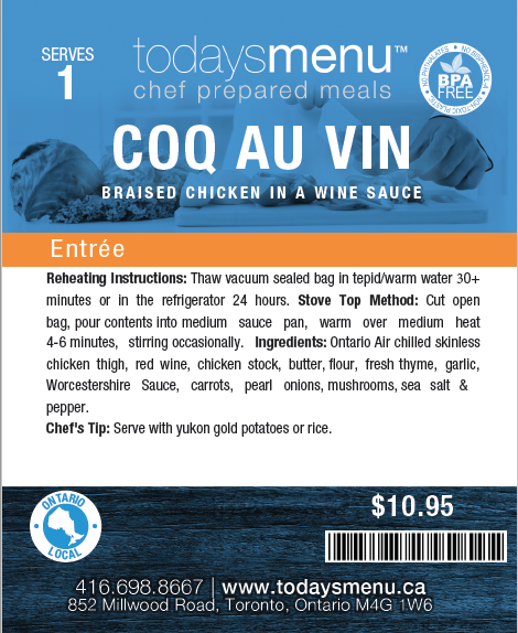 Coq au Vin( Serves 2)