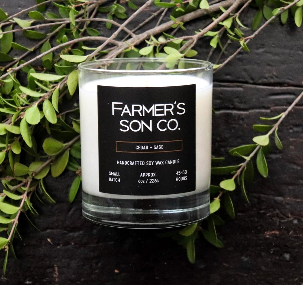 Farmer's Son Co. Soy Candle  / Cedar & Sage 226 g/ 45 hour