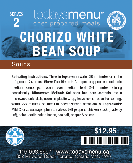 Chorizo & White Bean Soup (Serves 4)