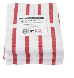Basketweave Red Dishtowels (set of 3)