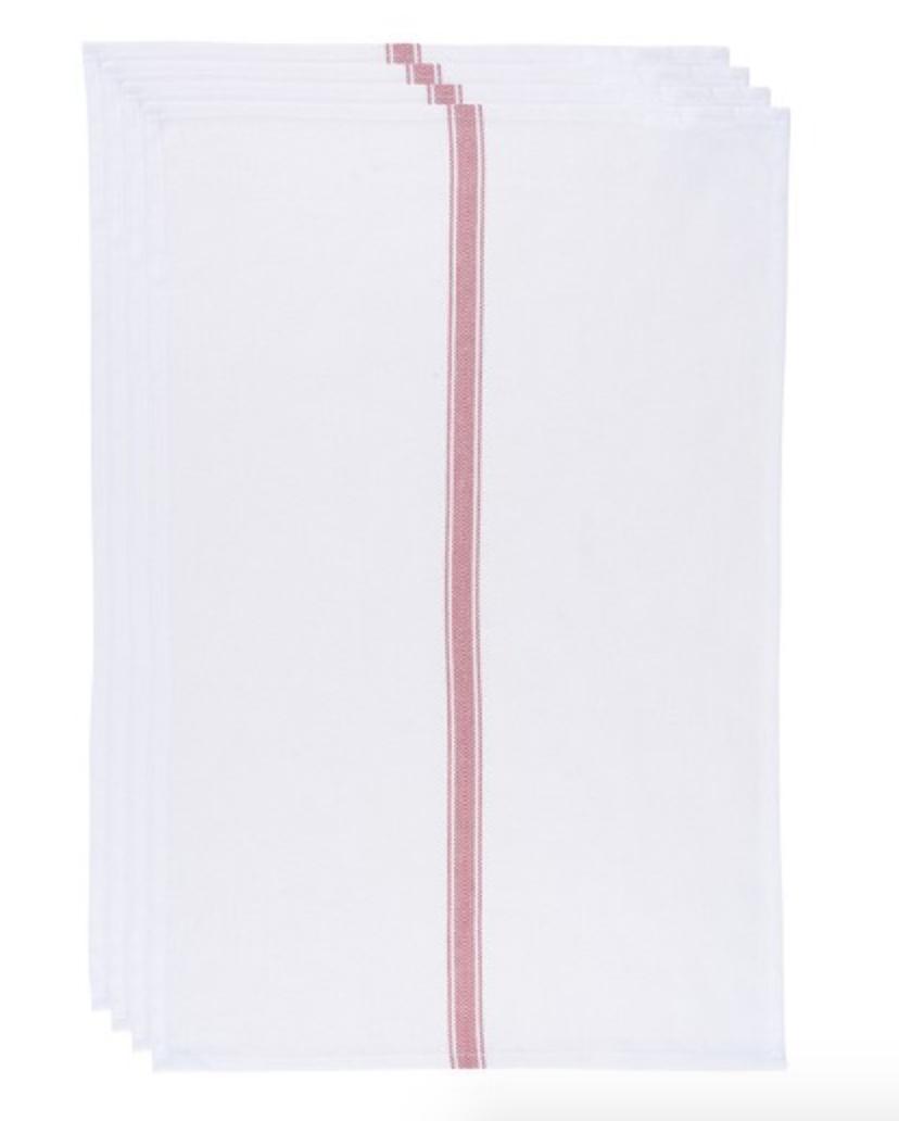 Brooklyn Stripe Towels Red (set of 4)