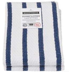 Dishcloth Basketweave Blue Stripe (Set 2)