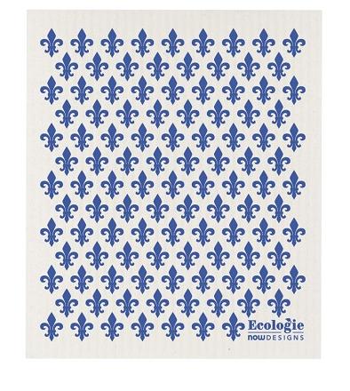 Swedish Sponge Cloth Blue Fleur de Lis