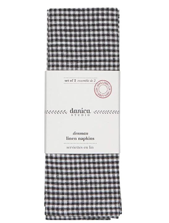 Black & White Checkered Linen Napkins (Set 2) 20 x 20