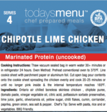 Chipotle LIme Chicken Dinner (Serves4 )