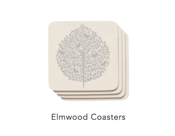Cork-Backed Elmwood Coasters (set 4)