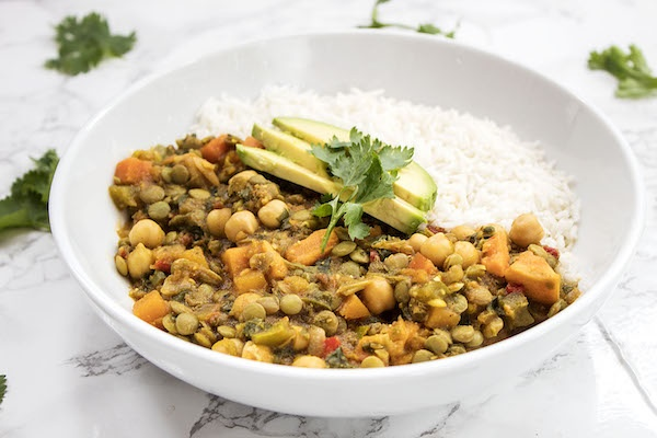 7 Vegetable Lentil Curry Vegetarian Dinner (Serves 1)