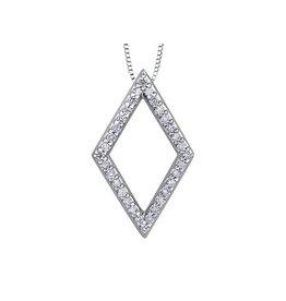 Diamond Geometric Pendant (0.16ct) White Gold
