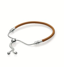 Pandora 597225CBK - Sliding Brown Leather Bracelet, Clear CZ