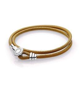 Pandora 597194CGT - Golden Tan Double Leather Bracelet, Clear CZ