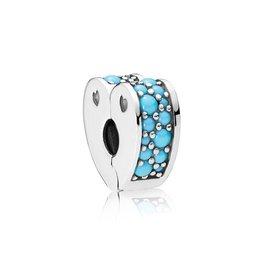 Pandora 797227NYA - Arcs of Love Clip, Cyan Blue Crystal