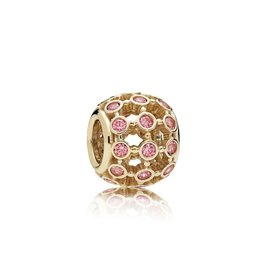 Pandora 750825CZS - In the Spotlight Openwork Charm, 14K Gold & Fancy Pink CZ