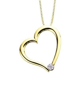 I am Canadian Yellow Gold (0.03ct) Canadian Diamond Heart Pendant