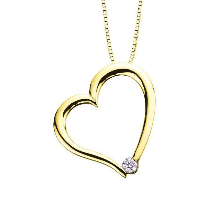 I am Canadian Diamond Heart (0.03ct) Canadian Diamond 10K Yellow Gold