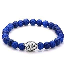 Inox Lapis Bead Buddha Head Bracelet